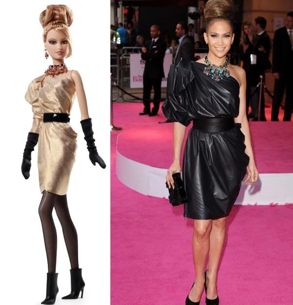 Créditos das imagens: Divulgação Barbie Collector/Mattel |  JLo via www.glamourmagazine.co.uk
