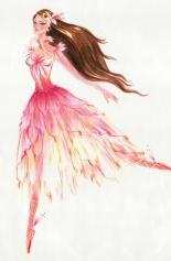 Não há informação sobre qual personagem seja a retratada neste croqui, porém os cabelos lembram bastante os de Edeline enquanto os tons usados no vestido se assemelham aos de Fallon | Crédito da imagem: divulgação www.coroflot.com/michellelucas