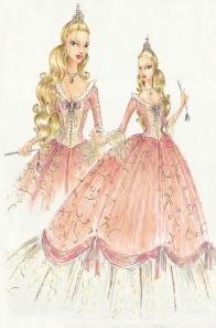 Croqui da Princesa Anneliese, do filme Barbie em A Princesa e a Plebeia | Crédito da imagem: divulgação www.coroflot.com/michellelucas