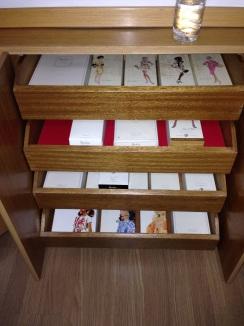 Algumas bonecas de Gustavo, guardadas e organizadas em um armário   Crédito da imagem: Gustavo Mello/Acervo pessoal