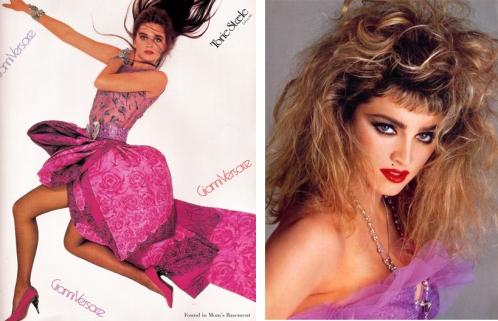 Um look ousado assinado por Gianni Versace e um cabelão armado a la Madonna marcaram os anos 1980 | Crédito da imagem: via http://www.doortje-vintage.com