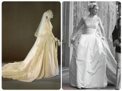 Grace Kelly com seu vestido de casamento, usado em suas bodas, em 1956 | Crédito da imagem: via http://thefoxling.blogspot.com.br/2012/03/grace-kellys-wedding.html