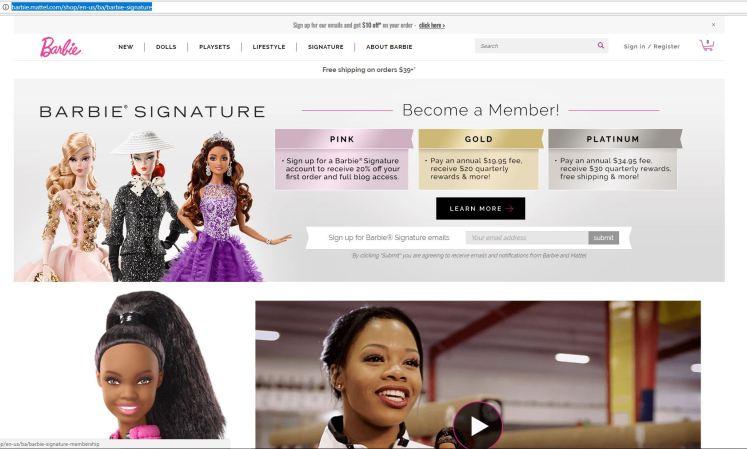 Crédito da imagem: reprodução Barbie Signature | http://barbie.mattel.com/shop/en-us/ba/barbie-signature